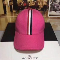 MONCLER autumn new men and women color striped baseball cap F-TMWJ-XDH Rose red
