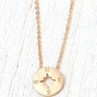 LA Hearts Compass Longline Necklace - Womens Jewelry - Gold - One