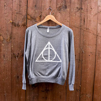 Women's Deathly Hallows American Apparel Tri-Blend Pullover in Heather Grey or Tri-Cranberry