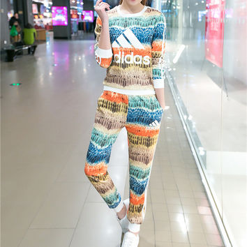 """""""Adidas"""" Fashion Casual Multicolor Feather Letter Print Long Sleeve Sweater Set Two-Piece Sportswear"""
