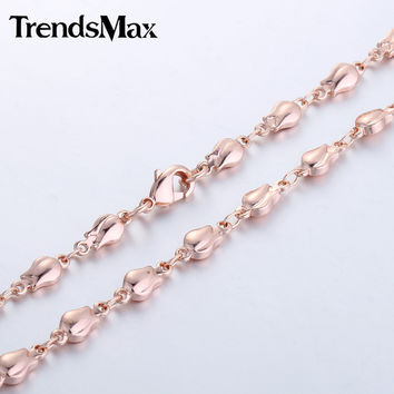 4mm Girls Womens Chain Bud Bead Beaded Link Chain Rose Gold Filled Necklace High Quality Jewelry Trendy Valentine's Gift GN226