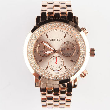 Geneva Rhinestone Chrono Watch Rose Gold One Size For Women 24026638101