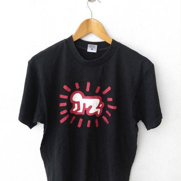 BIG SALE 25% Vintage KEITH Haring 80's Pop Art Graffiti Street Andy Warhol Designer Baby Crawling Printed Black T shirt