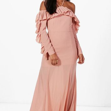 Boutique Alex Pleated Frill Maxi Dress | Boohoo