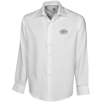 Cutter & Buck Green Bay Packers White Epic Easy Care Dobby Long Sleeve Button Down Shirt