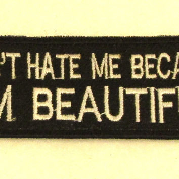 DON'T HATE ME Iron on Small Badge Patch for Biker Vest SB844