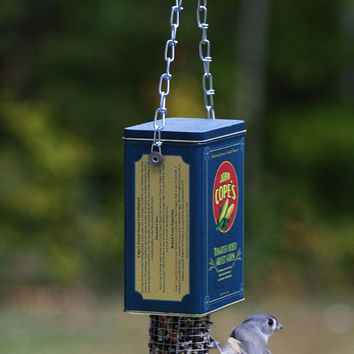 Handmade bird feeder - Garden outdoor backyard patio decor - Rustic OOAK bird watcher gift - Christmas gift - vintage tin bird feeder