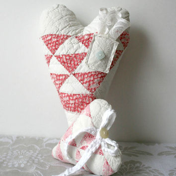 Valentines Day Heart Decorations - home decor pink white small pillow vintage quilt mothers day easter