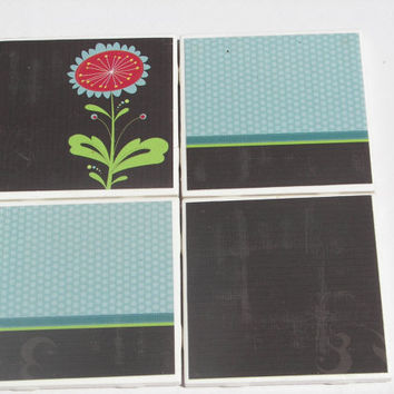 4 Tile Coasters in Garden Party Theme
