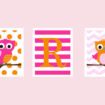 Monogram Letter First Initial, Hot Pink and Orange, Owls, CUSTOMIZE YOUR COLORS, 8x10 Prints, set of 3, nursery decor print art baby decor