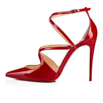 Crossfliketa 100 Flamenco Patent Leather - Women Shoes - Christian Louboutin
