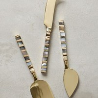 Mother-Of-Pearl Cheese Knives by Anthropologie in Light Grey Size: Cheese Knife Flatware
