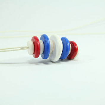 Red, White, Blue Necklace - Red, White, Royal blue Jewelry - Everyday Necklace - Summer, Fresh, Bright