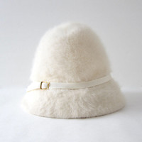 vintage fur hat. white fur hat. winter hat. Kangol hat. women's wool hat. Modern Minimalist