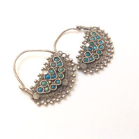Vintage Afghani Earrings Uzbek Style Silver and Turquoise
