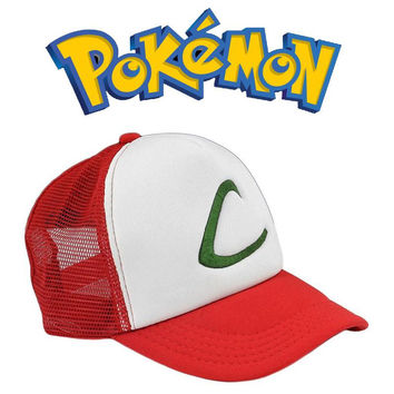 2016 Women Men Unisex Anime Fashion Cosplay Pocket Monster Ash Ketchum Adjustable Mesh Baseball Cap Hat
