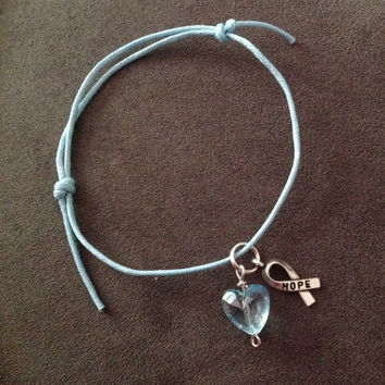 Light Blue Awareness Sliding Knot Bracelet-Prostate Cancer-Twin to Twin Transfusion(TTTS)-Mouth Cancer-Crohn's Disease
