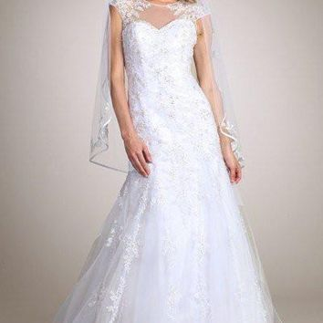 Lace Fit N Flare Wedding Dress MT 162 - CLOSEOUT