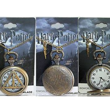 Licensed cool NEW Harry Potter Deathly Hallows POCKET WATCH NECKLACE w/ Lightning Bolt Charm