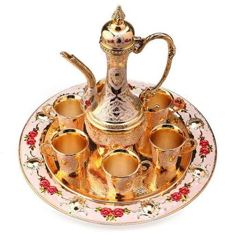 CREYU3C Hot Sale New Traditional Tea Set Retro Vintage Wine Set Cabinet Article Decor, Wine pot+Tray+Wine cup BS