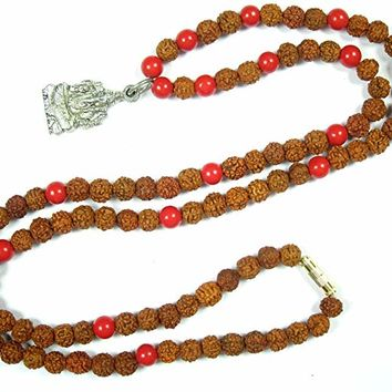 Buddhist Prayer Mala Beads Coral Rudraksha Yoga Meditation Happiness with Ganesha Pendant
