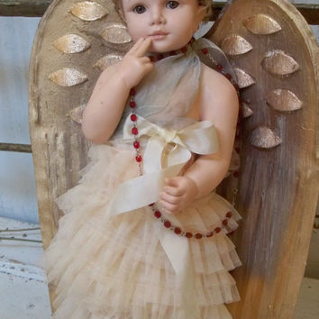 Large angel doll figure shabby chic large wings up cycled embellished beautiful face home decor anita spero