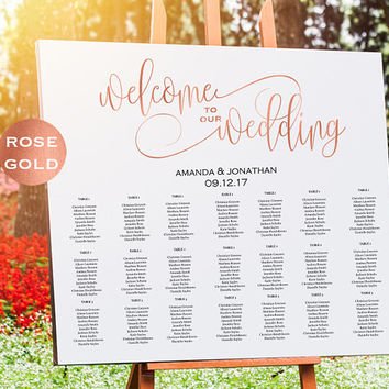 Rose Gold Wedding Seating Chart Template - Welcome Wedding Seating Chart Sign Printable - Simple Wedding - Downloadable wedding #WDHSN8184