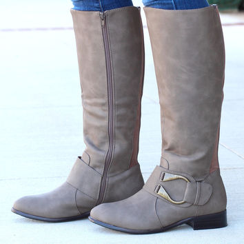"Emerson ""U"" Ankle Wrap Riding Boots {Taupe}"