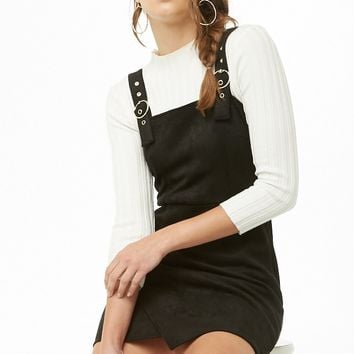 Faux Suede Overall Dress