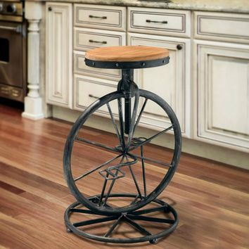Wrought Iron Bicycle Style Chair Bar Stool  Industrial Lifting Chair Retro Bar Stool Solid Wood