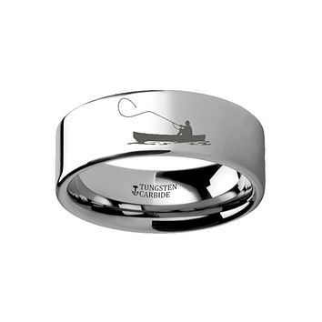 Hunting Landscape Scene - Fishing Boat - Fishermen Fishing Ring - Laser Engraved - Flat Tungsten Ring - 4mm - 6mm - 8mm - 10mm - 12mm
