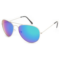Blue Crown Linx Aviator Sunglasses Silver One Size For Men 23132914001