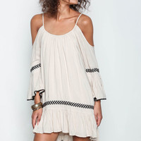 Beige Woven Off Shoulder Embroidered Swing Dress