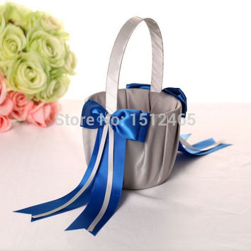 Free shipping,Silver gray and royal blue Bowknot Satin Wedding Flower Girl Basket  Wedding Christmas Decorations WS43