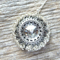 Ice Clear Swarovski Crystal Necklace, Clear Crystal Rivoli Pendant, Handmade Beaded Filigree Circle Pendant, Christmas Gift, Gift for Her