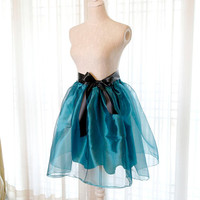Teal Green Organza Puff Skirt Tutu- Alice in wonderland fairytale Bridesmaid ballerina style Black Sash