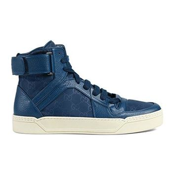 Gucci Men's Blue Nylon Leather GG Guccissima High Top Sneakers Shoes