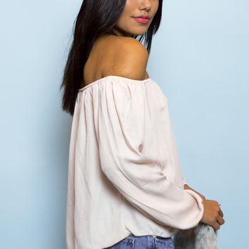 Zara Stain Off The Shoulder Top - Light Pink