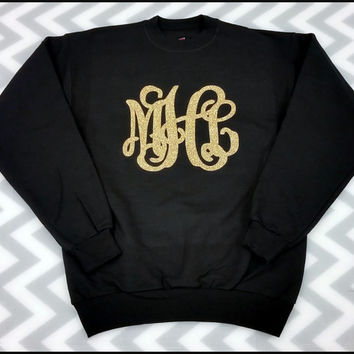 Monogrammed Glitter Crew Neck Sweatshirt, Greek Letters, Sorority Custom Sweatshirt