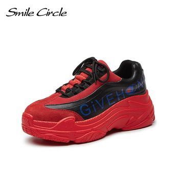 Smile Circle 2018 Women Sneakers Genuine Leather Shoes For Women Fashion Lace-up Flat Platform Shoes Mixed Colors Casual Shoes
