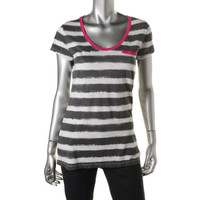 Style & Co. Womens Striped Contrast Trim Casual Top