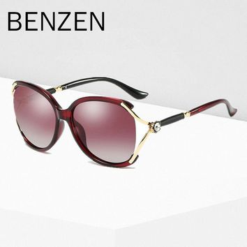 BENZEN Luxury Rhinestone Sunglasses Women Polarized Female Sun Glasses UV Ladies Shades Driving Glasses Black With Case 6235