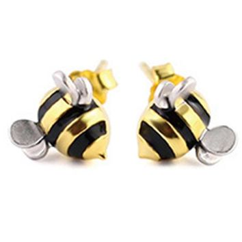 New Arrival Gold Color Bees Stud Earrings For Women Fashion Girl Gift Fashion Jewelry Sliver Earring  Drop Shipping