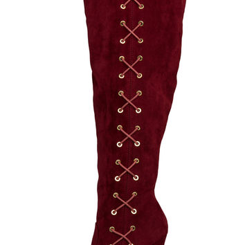 Tenya Corset Knee High Boots (Wine)- FINAL SALE