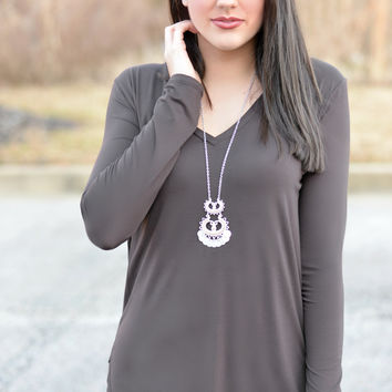Basic Beauty Brown V-Neck Top