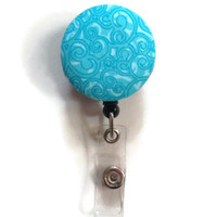 Fabric Covered Retractable Badge Reel Turquoise Paisley Patterned Keychain Lanyard