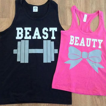 Free/Fast Shipping for US Beauty And The Beast Matching Couples Tank Tops/Shirts: Pink and Black (Gray and White Decal)