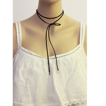 Real Suede Wrap Necklace / Wrap Necklace / Genuine Leather Cord Choker / Black Wrap Choker / Tie Cord  Necklace / Trendy Necklace / N296x