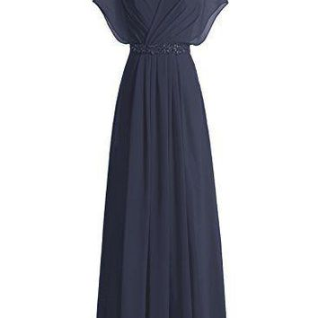 TDHQ Women Long Sweetheart Chiffon Prom Dress with Beadings Bridesmaid Party Gowns