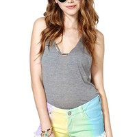 Reverse Rainbow Dream Cutoff Shorts